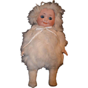 REDUCED Antique Bisque Googly Doll In Fur Outfit