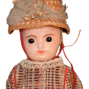 SALE Antique Doll Wax Over Papier Mache Doll Dressed Molded head