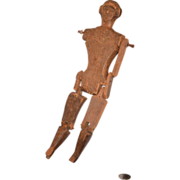 REDUCED Old Wood Doll Carved Jointed Primitive Unusual Pegged