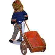 REDUCED Antique Doll Wagon Pull Toy For Doll & Miniatures Wood