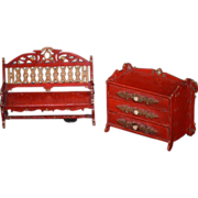 REDUCED Old Miniature Painted Furniture Dollhouse Ornate Unusual Bench Chest