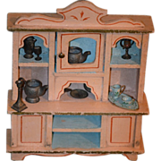REDUCED Old Cabinet Dollhouse Miniature Wood Filled W/ Miniatures