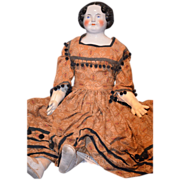 """REDUCED Antique GIGANTIC Doll China Head 36"""" Beauty Dressed"""