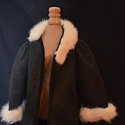 REDUCED Old Doll Fur Trimmed Coat Jacket For Bisque Doll
