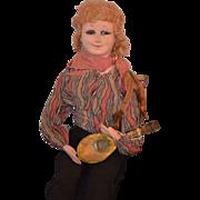 REDUCED Antique Doll Boudoir Apache Dancer Papier Mache Musical Cloth Wonderful