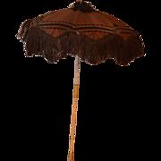 REDUCED Antique Doll Parasol Umbrella Carved Bone W/ Fringe Fancy