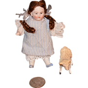 REDUCED Antique Doll Miniature Bisque Doll W/ French Lamb Dollhouse