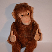REDUCED Old Steiff Monkey Jocko U.S. Zone For Doll Button Glass Eyes Toy