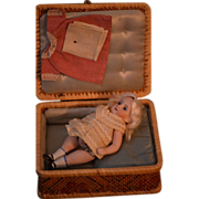 REDUCED Antique Doll Presentation Kestner Box Bisque Doll & Clothes Miniature Dollhouse Trunk