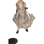 REDUCED Antique Doll Miniature Bisque Dollhouse Original Clothes