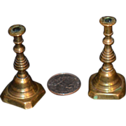 REDUCED Antique Doll Miniature EARLY Candle Sticks Brass Fancy