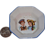 REDUCED Old Doll Miniature China Platter W/ BOY & GIRL Dollhouse