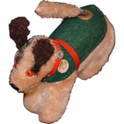 REDUCED Vintage Miniature Dog For Doll Mechanical Chasing Tail Original Monkey Tag Wind up