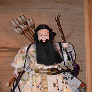 REDUCED Old Doll Oriental Warrior In Old Wood Box