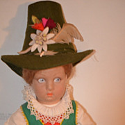 REDUCED Antique Doll Lenci Felt Italian Lucia- Face
