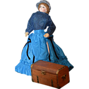 REDUCED Vintage Doll Miniature Trunk Wood and Brass Fashion Doll