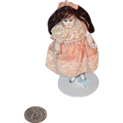 REDUCED Antique Doll Miniature All Bisque Swivel Neck Dollhouse