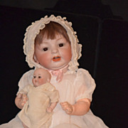 REDUCED Antique Doll Bisque Baby Kestner ??152 Holding Miniature Bisque Doll