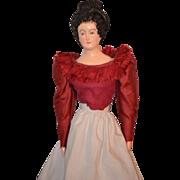 REDUCED Vintage Doll Unusual Papier Mache Paper Mache Fancy Hair Style