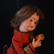 REDUCED Antique Bisque Doll French Mechanical Walker Wind-up Original Works!
