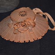 REDUCED Antique Doll French Straw Hat Fancy Fashion Doll
