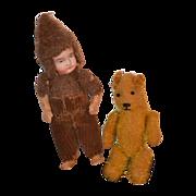 REDUCED Antique Doll Bisque Dressed As A Teddy Bear & Teddy Bear Miniature Dollhouse