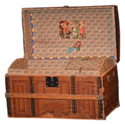 Antique Doll Trunk W/ Original Tray & Litho For Bisque Doll