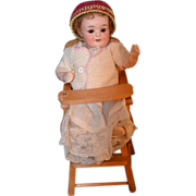 REDUCED Antique Doll Bisque Miniature Character Baby Armand Marseille 560 A W/ High Chair