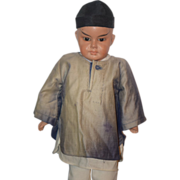 REDUCED Antique Doll Oriental Character Papier Mache Paper Mache