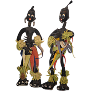 REDUCED Antique Doll Black Cloth African Tribal Dolls Rare Pair Italian