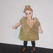 REDUCED Antique Doll French Miniature Bisque Mignonette Black Stockings Fancy Unusual