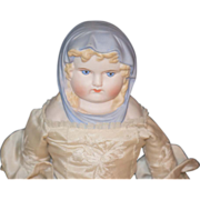 REDUCED Vintage Doll Emma Clear Blue Scarf Bisque Lady Gorgeous