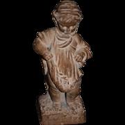 REDUCED Antique Doll Terra Cotta TerraCotta French Little Girl Signed Figurine