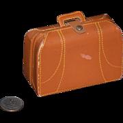 REDUCED Vintage Doll Suit Case Leather Travel Bag Miniature
