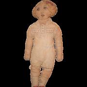 REDUCED Antique Doll Cloth Lithograph Wonderful Folk Art