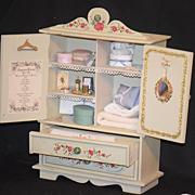 REDUCED Wonderful Vintage Trousseau Cabinet W/ Miniatures Linens BeBe & More FAB For Fashion D