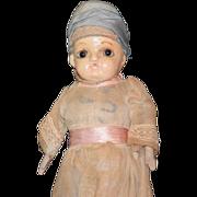 REDUCED Antique Doll Papier Mache Glass Eyes Unusual Folk Art Odd Shaped Head
