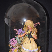 REDUCED Vintage Doll Peggy Kilgore Corn Husk Dolls Glass Dome