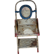 REDUCED Antique Doll Miniature Toilet Wash Stand Tin Dollhouse Metal