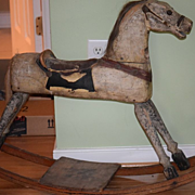 REDUCED Antique Doll Toy Wood Carved Rocking Horse WONDERFUL