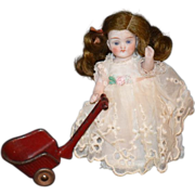 REDUCED Antique Doll Miniature Wagon Pull Toy For Doll Carriage Dollhouse Metal