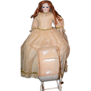REDUCED Old Doll Pram Carriage For Doll Fashion or China Head Metal