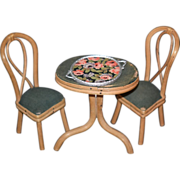 REDUCED Old Doll Miniature Parlor Set Table & Chairs Platter Dollhouse