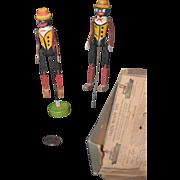 REDUCED Antique Doll Black Dolls Dancing Rastus Pair Dancing Carved Wood Talking Machine Toys