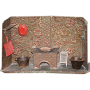 REDUCED Old Doll Kitchen Metal Copper Diorama Stove Oven