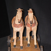 REDUCED Antique Doll Pull Toy Two Horses Miniature Adorable