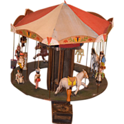 REDUCED Old Doll Carousel Miniature Wood Crank FAB!! Papier Mache