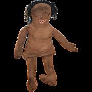 REDUCED Sale Sale Antique Doll Cloth Black Rag Doll Folk Art Unusual