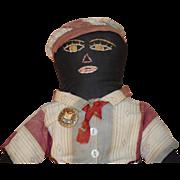 REDUCED Antique Doll Black Cloth Rag Doll Folk Art