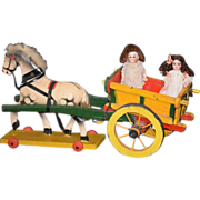 REDUCED Old Doll Horse & Carriage Dollhouse Miniature Pull Toy German